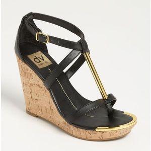 DV by Dolce Vita Tremor Black Leather Wedge Sandal